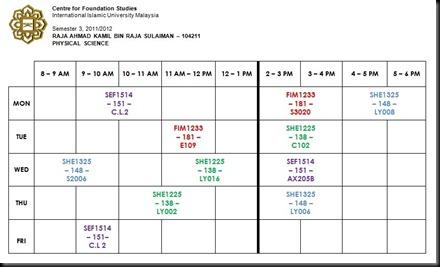 Schedule Sem 3